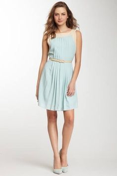 Retail Therapy of St. Augustine- Sleeveless Pleated Blue Dress with Contrast Panels