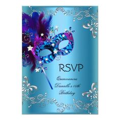 RSVP Quinceanera 15th Birthday Party Masquerade Custom Announcements