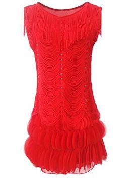 fbbb17de709 PrettyGuide Women Beaded Fringe Scalloped Petal Hem Origami Flapper Dress  (US PrettyGuide