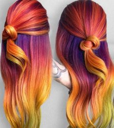 10 Rainbow Hair Ideas for a Brave Change - Mody Hair Vivid Hair Color, Ombre Hair Color, Hair Color Dark, Yellow Hair, Purple Hair, Orange Yellow, Red Purple, Flame Hair, Ombre Look
