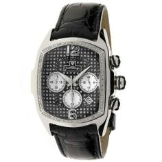 """JBW Men's JB-6113-E """"Caesar"""" Combo Dark Stainless Steel Leather Diamond Watch JBW. $115.00. Diamond accented curved rectangular designer bezel: 16 round-cut white diamonds with 0.16 CTW. Illusive bubble face with a pave black dial including 3 white mother of pearl sub-dials and 12-6 frost numerals; durable scratch-proof sapphire crystal glass. Durable all stainless steel case and black genuine crocodile leather band with deployment clasp and buckle. VD53 Japan..."""