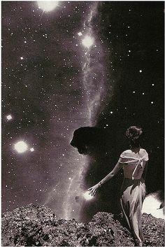 collage by Beth Hoeckel Photomontage, Edward Moran, Eugenia Loli, Psy Art, To Infinity And Beyond, Stars And Moon, Night Skies, Trippy, Constellations