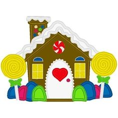 Gingerbread House Applique - 3 Sizes! | Christmas Applique Machine Embroidery Designs | Machine Embroidery Designs | SWAKembroidery.com