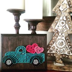 Valentine's day string art truck by my2heARTstrings on Etsy