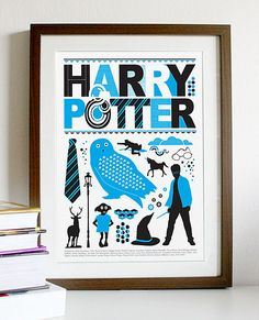 Harry Potter  Blue and Black A3 Print by Posterinspired on Etsy, $18.00