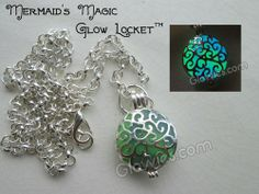 Mermaid's magic glow in the dark blue and green swirls pendant by Monique Lula for Glowies.com