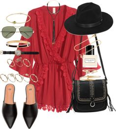 A fashion look from May 2016 featuring red jump suit, flat pump shoes and studded shoulder bag. Browse and shop related looks. Packing Clothes, Packing Outfits, Stylish Outfits, Cute Outfits, Dress Outfits, Casual Dresses, Cute Crop Tops, Fashion Lighting, Modern Fashion