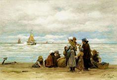 Philippe Lodowyck Jacob Sadee - The Departure of the Fishing Fleet Art Watch, European Paintings, Nautical Art, Dutch Painters, Dutch Artists, Beach Scenes, Sculpture, Beautiful Paintings, Impressionist