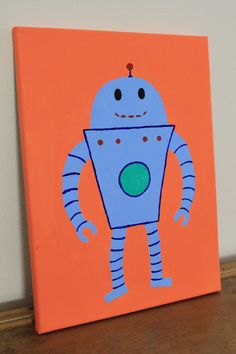 Robot kids room or nursery art FREE SHIPPING Wall Art boys room nursery by ValsCraftCreations, $35.00