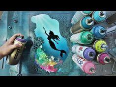 Disney Drawing Little Mermaid Spray Paint Fan Art Spray Paint Fan, Spray Paint Artwork, Spray Painting, Artist Painting, Drawing Cartoon Characters, Cartoon Drawings, Eye Drawings, Doodle Drawings, Painted Fan