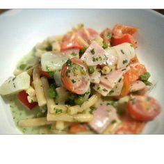 Rezept Lauwarmer Spargel-Nudelsalat von schmecktakulär - Rezept der Kategorie Vorspeisen/Salate