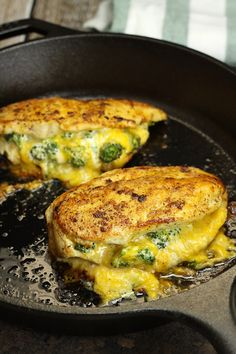 You'll love this easy, one pan recipe for Broccoli Cheddar Stuffed Chicken. It's lightly seared on the outside, stuffed with broccoli and cheddar cheese, and finished in the oven. Broccoli Cheddar Chicken, Broccoli And Cheese, Chicken Broccoli, Easy Weeknight Meals, Easy Meals, Cheese Stuffed Chicken, Grilled Stuffed Chicken, Grilled Meat, Granola