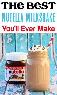 Nutella Drink, Nutella Smoothie, Nutella Milkshake, Milkshakes, Easy Milkshake Recipe, Healthy Milkshake, Shake Recipes, Deserts, Drink Recipes