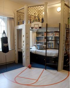 fun bedroom ideas. Play area or book nook above the bed