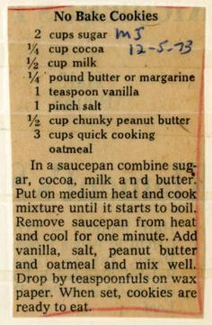 No Bake Cookies. :: Historic Recipe