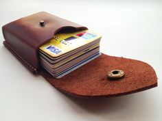 Handmade 100 cow hide Leather Card Holder / credit cards by wolike, $25.00