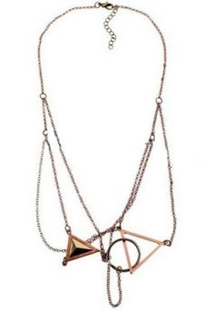 Gold Triangle Circle Chain Necklace