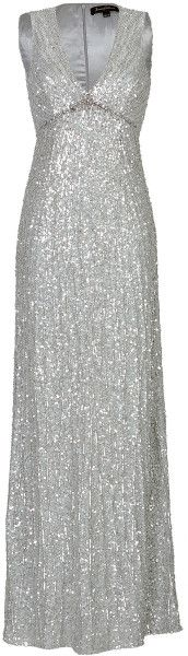 Sequin Embellished Gown - Lyst  SILVER GHOST  by Jenny Packham