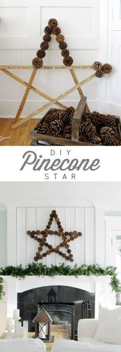 Large Pinecone Star Deck out your mantel for the holidays with an oversized DIY pinecone star. Check out the tutorial! Large Pinecone Star Deck out your mantel for the holidays with an oversized DIY pinecone star. Check out the tutorial! Fall Crafts, Decor Crafts, Holiday Crafts, Diy And Crafts, Crafts For Kids, Nature Crafts, Creative Crafts, Kids Diy, Christmas Crafts To Make And Sell