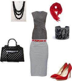 """Gray and Red -- Work Attire"" by sarahd1601 on Polyvore"