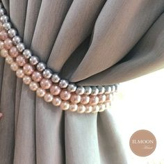 Pink and Grey / Pink and Gold Curtain Tie Backs / Shabby Chic Decor Tieback / Blush Pink Decor / Rose Gold Curtain Holdback Pink And Grey Curtains, Rose Gold And Grey Bedroom, Rose Gold Curtains, Blush And Grey, Shabby Chic Curtains, Shabby Chic Decor, Pink And Gold, Lilac Grey, Gold Gold