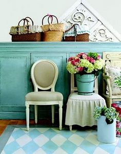 baskets, pail and a chair