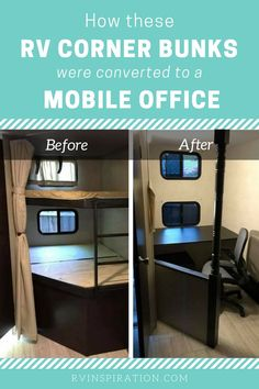 ♥ simpliRV RV Office ♥ See how these RVers renovated their RV bunkhouse by removing corner bunkbeds and converting the space to a mobile office.