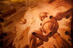 Gorgeous, sepia-toned sci-fi meets art deco ceiling mural by Greg Broadmore in the Roxy Cinema, Wellington Ceiling Murals, Go To Movies, Call Art, Source Of Inspiration, Appreciation, Graffiti, Street Art, Sci Fi, Art Deco