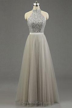 High Neck Gray Tulle Floor-length Beading Fashion Prom Dresses