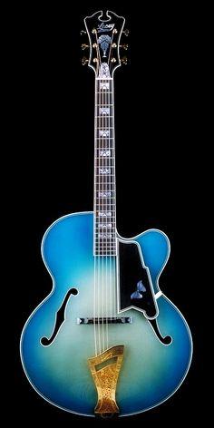 LACEY Scott Chinery Blue Virtuoso Archtop Guitar Room, Jazz Guitar, Guitar Art, Cool Guitar, Blue Guitar, Archtop Guitar, Acoustic Guitars, Vintage Electric Guitars, Guitar Building