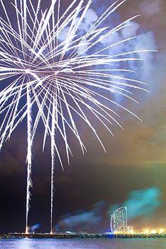 Fireworks at Barceloneta beach during Merce celebrations - Festes de la Merce, Barcelona