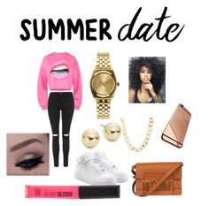"""""""pretty girl look"""" by goddessjackson on Polyvore featuring Topshop, NIKE, Nixon, Charlotte Russe, Lord & Taylor, Moschino, Rimmel, DateNight, drivein and summerdate"""