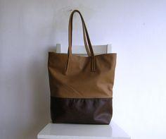 Brown and Cognac/ Camel Leather Tote Shoulder Bag. $92.00, via Etsy.