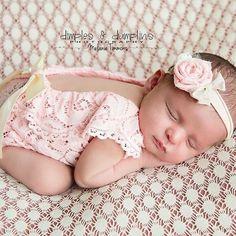 4fa27cf50616 Newborn photo outfit girl lace romper set, newborn girl dusty pink lace  photo outfit baby girl open back romper newborn photography