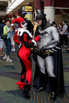 Batman and Harley Quinn cosplay...The bat isn't gonna get away from Harley THIS time!