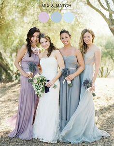 Mix Match Bridesmaids Dresses -- minus the lavender