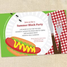 BBQ Block Party Invitations for Cookouts, Picnics, Birthdays  Celebrations by Sweet Wishes Stationery