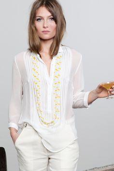 White Sandwashed Tuxedo Shirt | EmersonMade