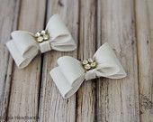 Ivory Double Bow Hair Clips with Rhinestones