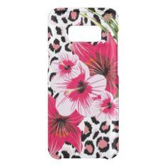 Pink Flowers & Leopard Pattern Print Design Uncommon Samsung Galaxy S8 Case - flowers floral flower design unique style