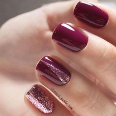 Burgundy Nail Art with Glitter Glitter Nail Polish Christmas Style Gel Polish - http: // robi . - Burgundy Nail Art with Glitter Glitter Nail Polish Christmas Style Gel Polish – robinhood-toptren - Burgundy Nail Designs, Burgundy Nail Art, Purple Nails, Red Nails, Fall Nails, Burgundy Wine, Purple Glitter, Maroon Nails, Red Wine