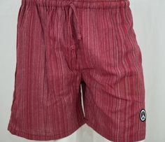 100% Cotton, Red Pinstripe Yoga Shorts.  thepeacestore.net