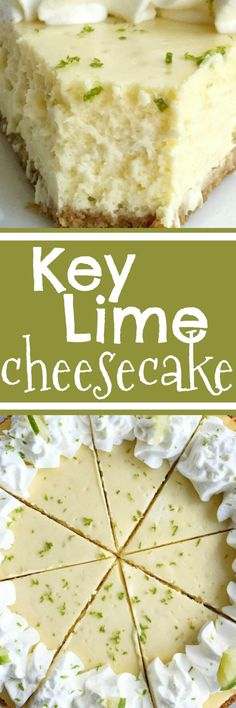 Key Lime Cheesecake Cheesecake Recipes Cheesecake Key Lime Dessert The best no cracks on top key lime cheesecake ever Graham cracker crust with a creamy and smooth ke. Key Lime Desserts, Köstliche Desserts, Lemon Desserts, Sweet Desserts, Delicious Cake Recipes, Best Dessert Recipes, Yummy Cakes, Sweet Recipes, Lime Recipes
