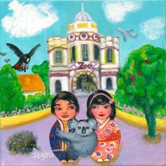 'Join hearts for diversity' with Mei+Kenji and friends. Kokeshis travelling the world on cultural and romantic adventures Mona Lisa, Romantic, Culture, Adventure, Art Prints, Creative, Artwork, Movie Posters, Painting