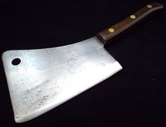 BIG antique SHARP Foster Bros 8 Forged Carbon Steel Butcher Meat Cleaver Knife