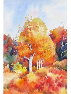 Autumn Aspen Trees WATERCOLOR ORIGINAL Painting Fall Orange Forest Woodland by Olena Baca. $45.00, via Etsy.