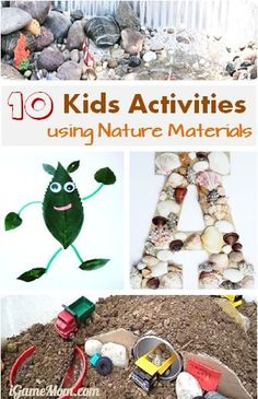 10 kids activities using nature materials - mud, rocks, leaves, sticks, sand, water, ... Fun for spring and summer outdoor play. Check the article for ideas on how to incorporate learning into the nature play!