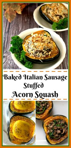 Baked Italian Sausage Stuffed Acorn Squash with Mushrooms is a tasty fall dish that can be a complete lighter main dish or a delicious side. Acorn Squash Baked, Sausage Stuffed Acorn Squash, Stuffed Mushrooms, Acorn Squash Recipes Healthy, Healthy Recipes, Baked Italian Sausage, Side Dish Recipes, Dinner Recipes, The Heat