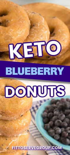 Indulge in a delicious recipe for keto blueberry donuts that both adults and children will enjoy! Made with a combo of coconut and almond flour, these donuts are tender, and packed with blueberry goodness. Low Carb Donut, Low Carb Sweets, Low Carb Desserts, Low Carb Recipes, Low Carb Bread, Low Carb Keto, Blueberry Donuts, Blueberry Cake, Keto Donuts