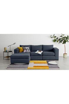 MADE Deep Blue Cotton Mix Modular sofa Modular Corner Sofa, Modular Sofa, Sofas, Navy Sofa, Take A Seat, Living Room Bedroom, Deep Blue, Home Office, Lounge